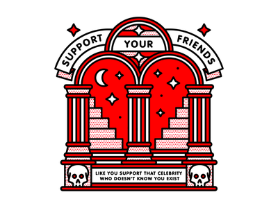 Support Your Friends quote skull friends occult monoline illustration halftone redhalftone