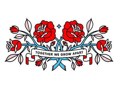 Together We Grow Apart grow friendship flowers rose tattoo monoline illustration redhalftone halftone
