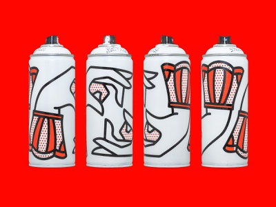 Spray Can Hands. pop art graffiti paint spraypaint spray can redhalftone tattoo monoline illustration halftone