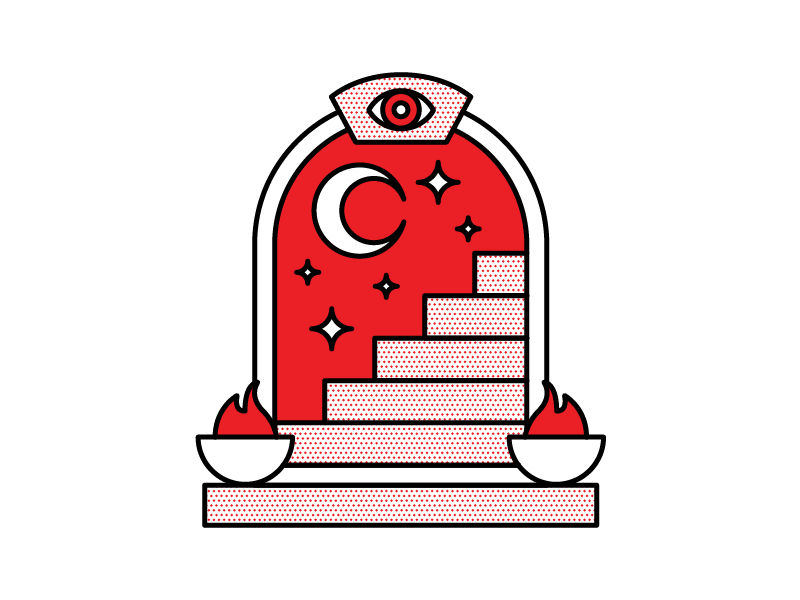 Staircase monoline halftone red vector design illustration occult night staircase