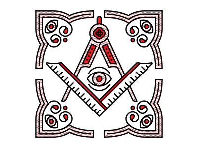 Conspiracy. flat compass eye conspiracy freemason halftone monoline vector red illustration