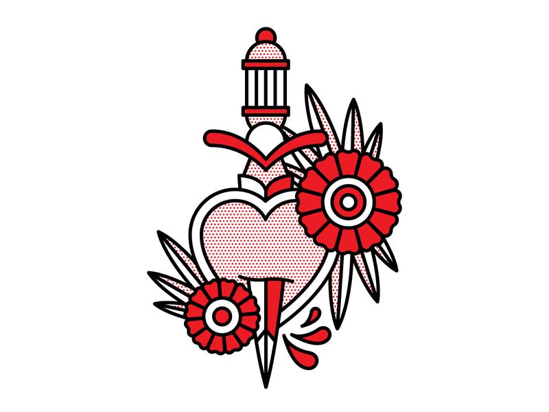 Heartbreaker pop art flowers dagger heart vector monoline tattoo illustration red halftone