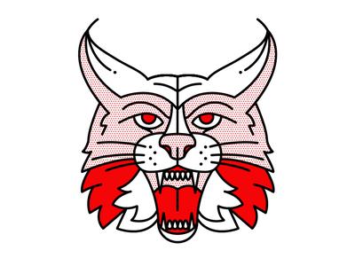 Lynx. pop art cat lynx beast tattoo monoline vector red illustration halftone