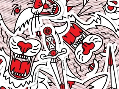 Sticker Pack Edition 1 pop art design sticker set sticker pack sticker monoline vector red illustration halftone