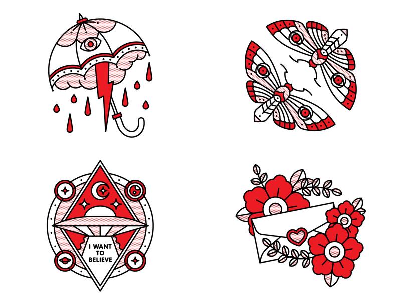 Top 4 2018 design flat top4 tattoo pop art monoline vector red illustration halftone