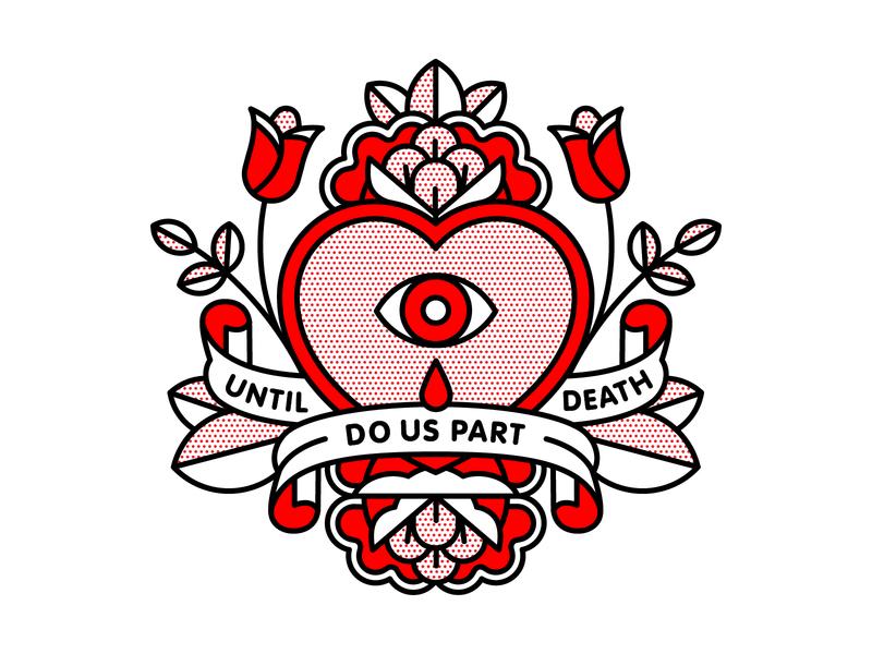 Until Death Do Us Part. alkaline trio heart love valentines day tattoo pop art monoline vector illustration halftone