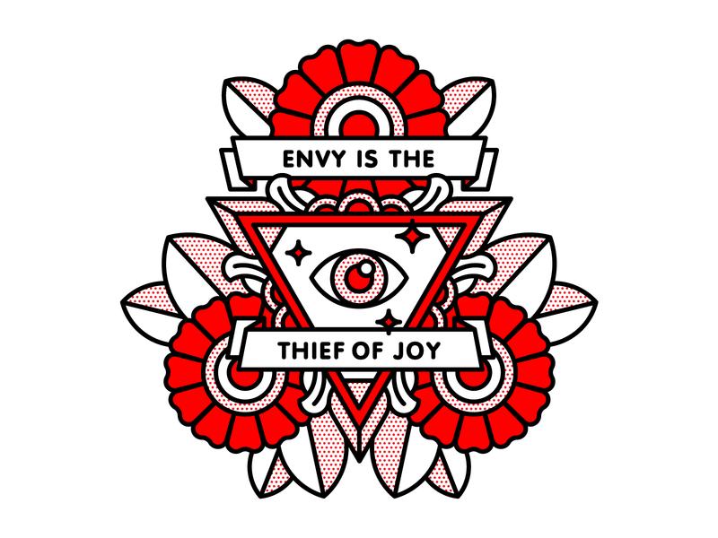Envy is the thief of joy. eye flower flat tattoo pop art monoline vector red illustration halftone