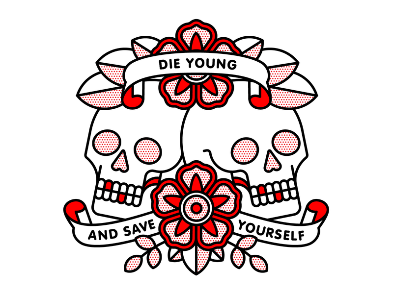 Die Young And Save Yourself skull emo brand new monoline tattoo pop art vector red illustration halftone