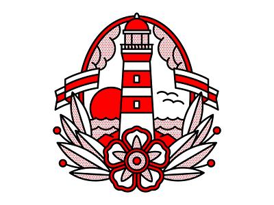 The Lighthouse Lost Its Beam. nautical lighthouse flat tattoo pop art monoline vector red illustration halftone