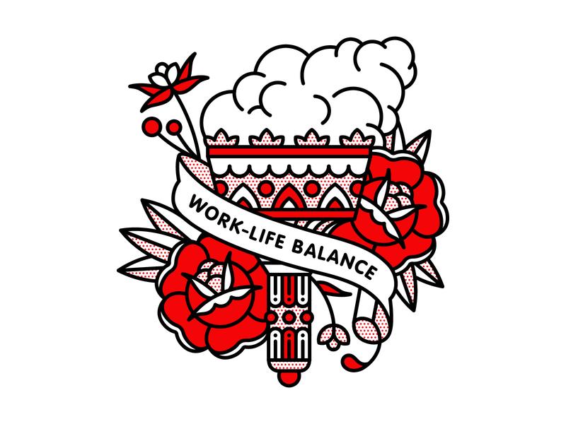 Work-Life Balance. balance torch flat tattoo pop art monoline vector red illustration halftone