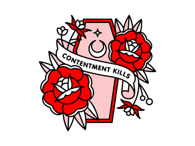 Contentment Kills. dead coffin flat tattoo pop art monoline vector red illustration halftone