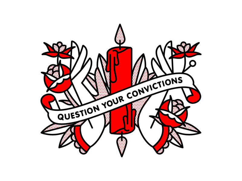 Question Your Convictions. occult candle flat tattoo pop art monoline vector red illustration halftone