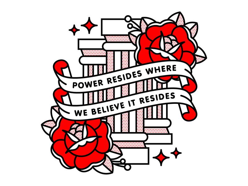 Power Resides Where We Believe It Resides. flower game of thrones flat tattoo pop art monoline vector red illustration halftone