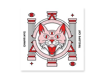 Triclops Cat Enamel Pin pink champ enamel pin pin cat pop art monoline red illustration halftone