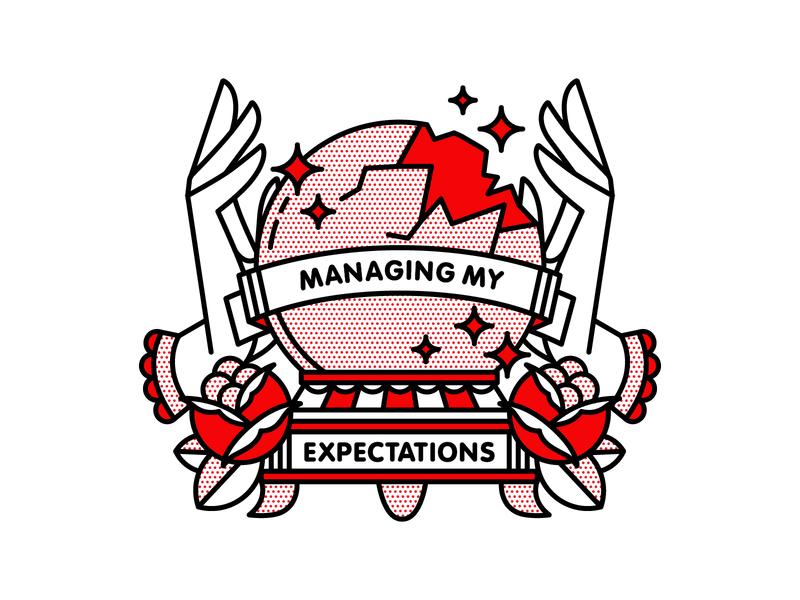 Managing My Expectations. crystal ball illustrator typography monoline tattoo pop art vector red halftone illustration