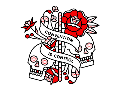 Convention is Control tattoo rose skull red pop art monoline typography flat halftone illustration