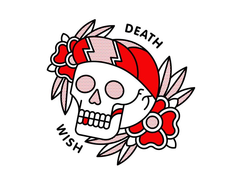 Death Wish Cyclist Skull flowers skull tattoo pop art monoline red halftone vector typography illustration