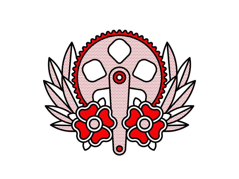Crank. cycling crank bicycle flat tattoo pop art monoline red illustration halftone