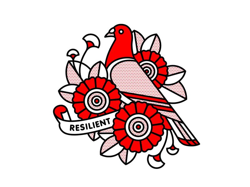 NYC Pigeons bird nyc pigeon typography tattoo pop art monoline halftone red illustration