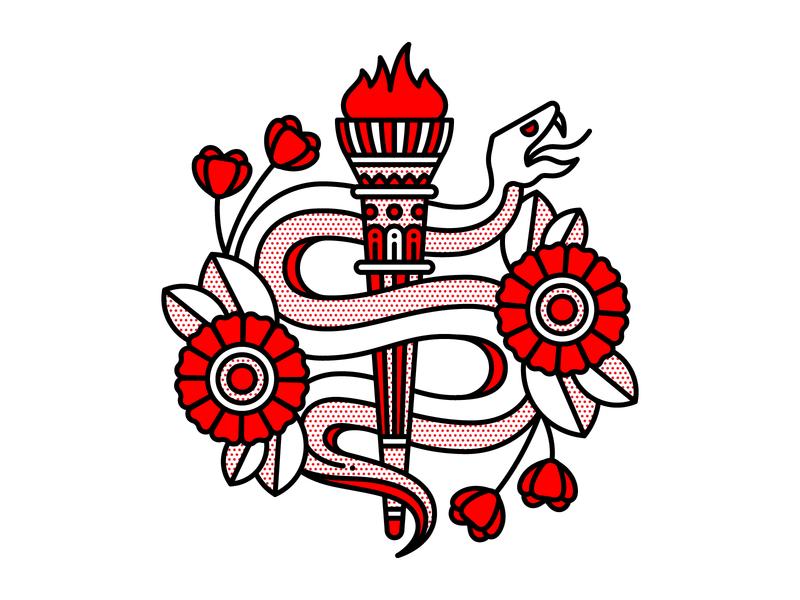 Serpent torch snake serpent design tattoo monoline vector red illustration halftone