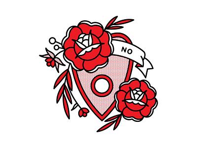 No Planchette typography ouija planchette no rose tattoo pop art monoline illustration halftone