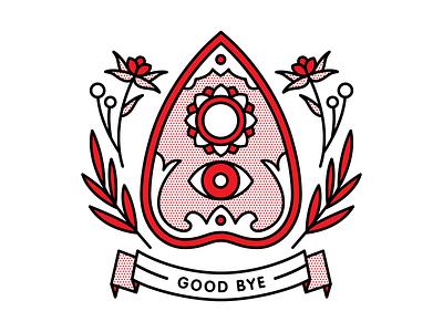 Goodbye Planchette occult ouija goodbye typography eye planchette pop art monoline illustration halftone