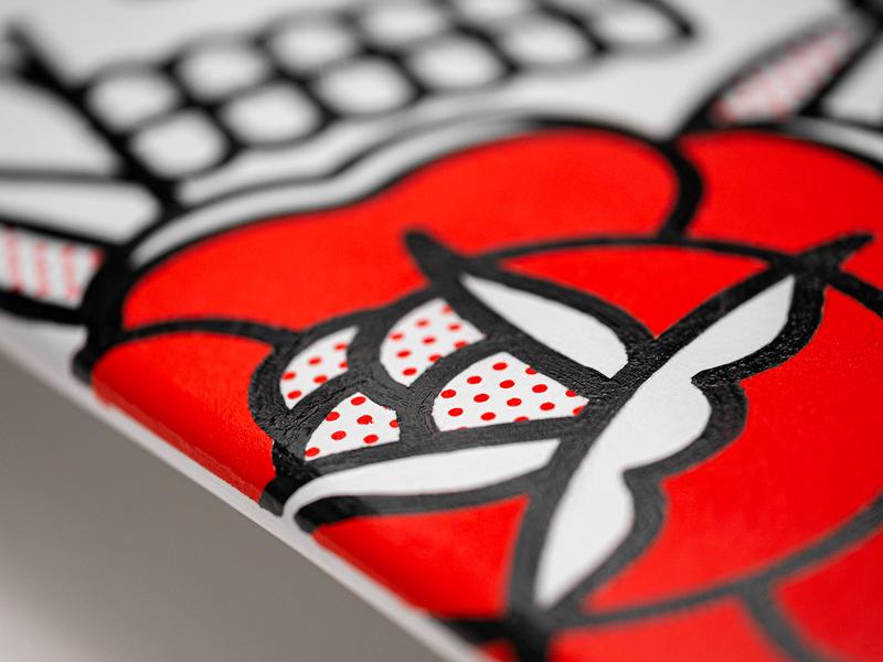 Over And Out Skateboard skull rose handpainted handmade skateboard tattoo monoline pop art illustration halftone