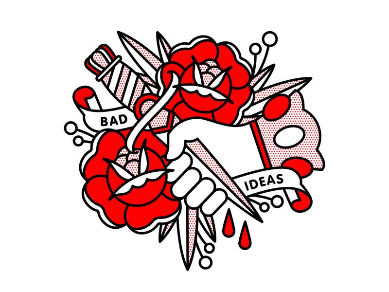 Bad Ideas hand rose dagger idea bad pop art tattoo monoline illustration halftone