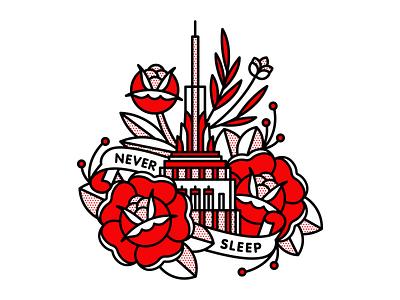 Never Sleep big apple sleep empire state building tattoo monoline pop art illustration halftone