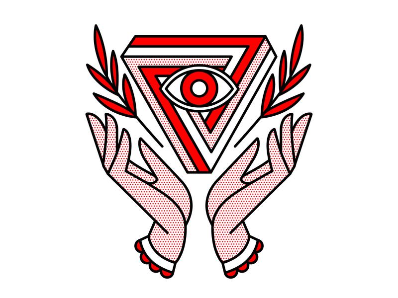 Hypnotic. secret society impossible shape illuminati eye hands tattoo monoline pop art illustration halftone