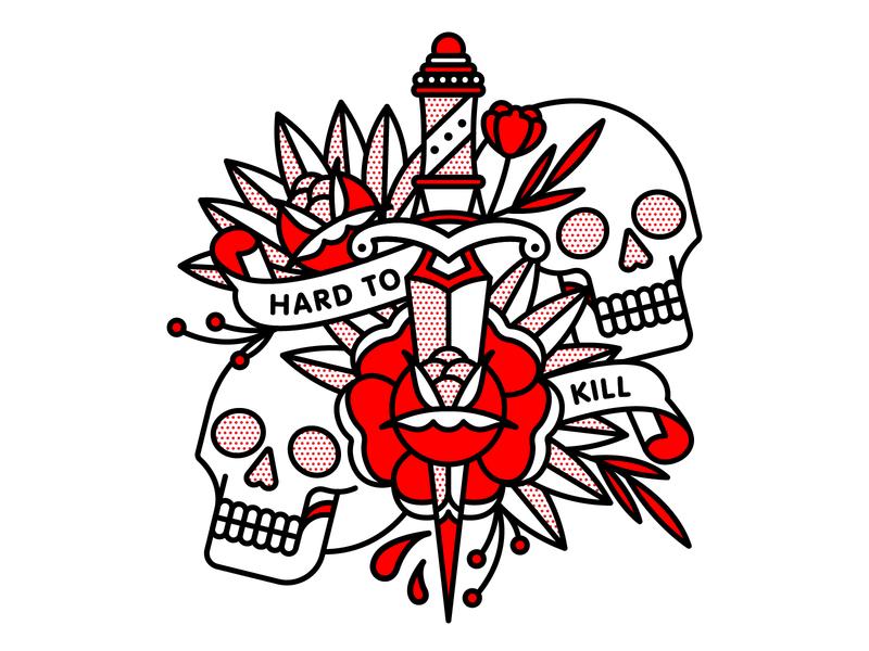 Hard To Kill occult kill rose dagger skull monoline tattoo pop art illustration halftone