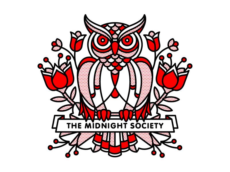 The Midnight Society dribbbleweeklywarmup bird society midnight owl typography tattoo monoline pop art illustration halftone