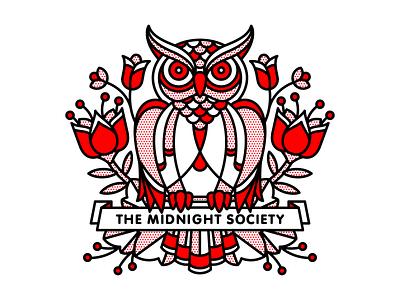 The Midnight Society mono line dribbbleweeklywarmup bird society midnight owl typography tattoo monoline pop art illustration halftone