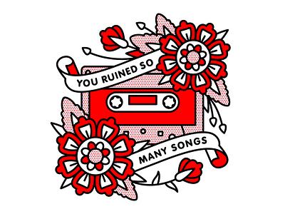 You Ruined So Many Songs flower lyrics mono line tape cassette senses fail emo typography tattoo monoline pop art illustration halftone