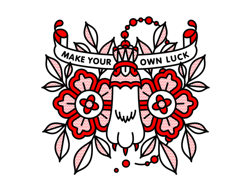Make Your Own Luck. flower foot rabbit luck typography tattoo monoline pop art illustration halftone