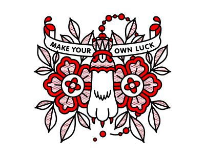 Make Your Own Luck. mono line flower foot rabbit luck typography tattoo monoline pop art illustration halftone