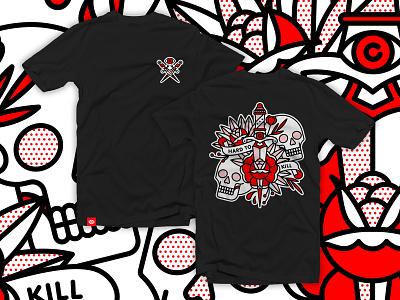 Hard To Kill Shirt Preorder [On Sale] screenprint silkscreen shirt mono line kill apparel skull tshirt typography tattoo monoline pop art illustration halftone