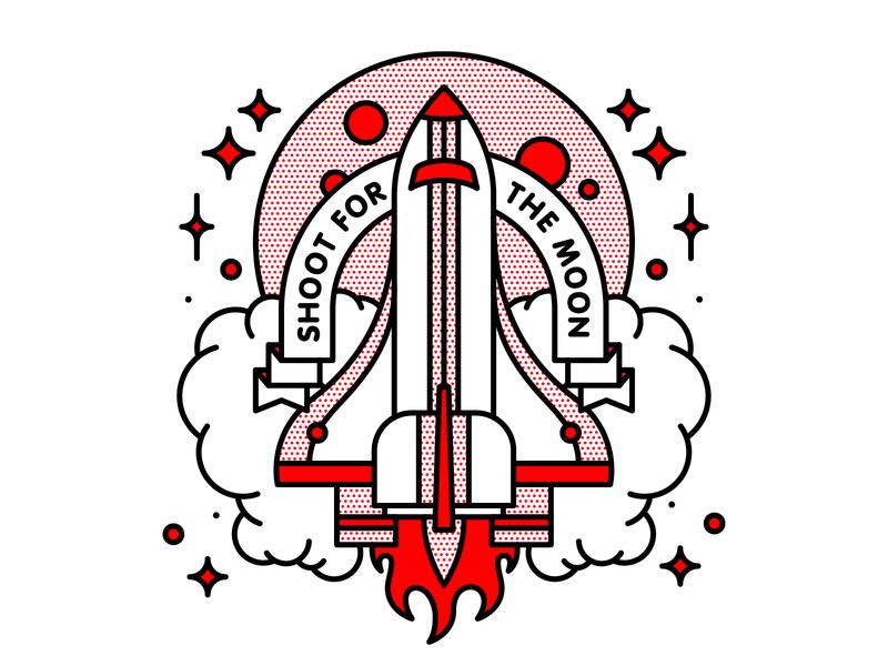 Shoot For The Moon rocketship space moon rocket typography tattoo monoline pop art illustration halftone