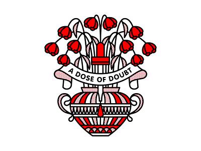 A Dose Of Doubt wilt dose dropper flower mono line poison flowers dead doubt typography tattoo monoline pop art illustration halftone
