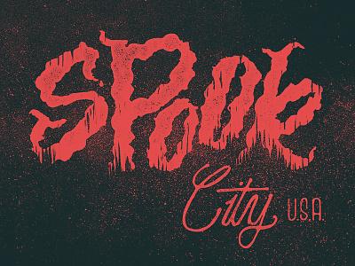 Spook City U.S.A. lettering misfits halloween spooky horror type script grit grime texture hand lettering