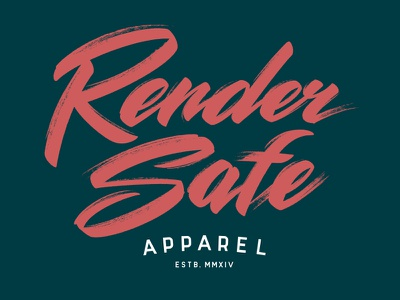 Render Safe Apparel type lettering texture gritty script apparel shirt hand lettering brush script