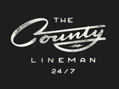 The County Lineman script logotype lettering type americana vintage hand lettering blue collar