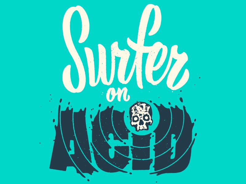 Beach Misfits hand lettering drinking surfing type skull script lettering