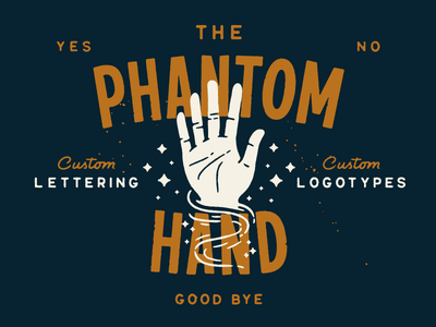 The Phantom Hand logotype script type lettering