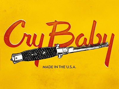Cry Baby script lettering typography switchblade 50s greaser