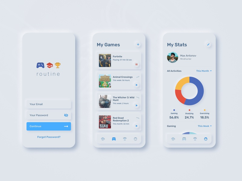 UI for Tracking Project mobile mobile design mobile app profile daily 100 challenge dailyui gaming statistics signin minimal uidesign neumorphism neumorphic habits tracking app softui
