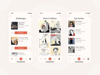 Art Challenges App Concept sketches art dailyui ios mobile design mobile mobile ui softui daily 100 challenge