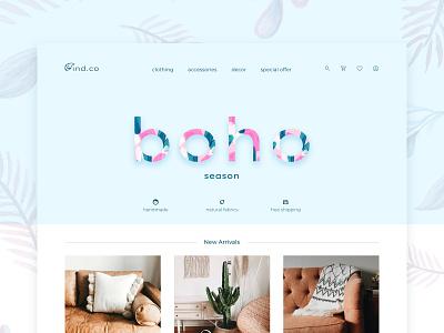 Boho-chic style shop concept web design minimal web website daily 100 challenge
