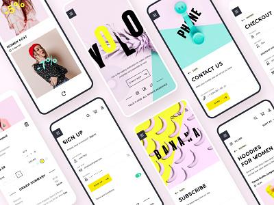 YOLO SHOP creative market ecommerce concept ui ux app illustration shot