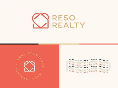 RESO Realty Branding results resolution design logo real estate heart home branding realtor